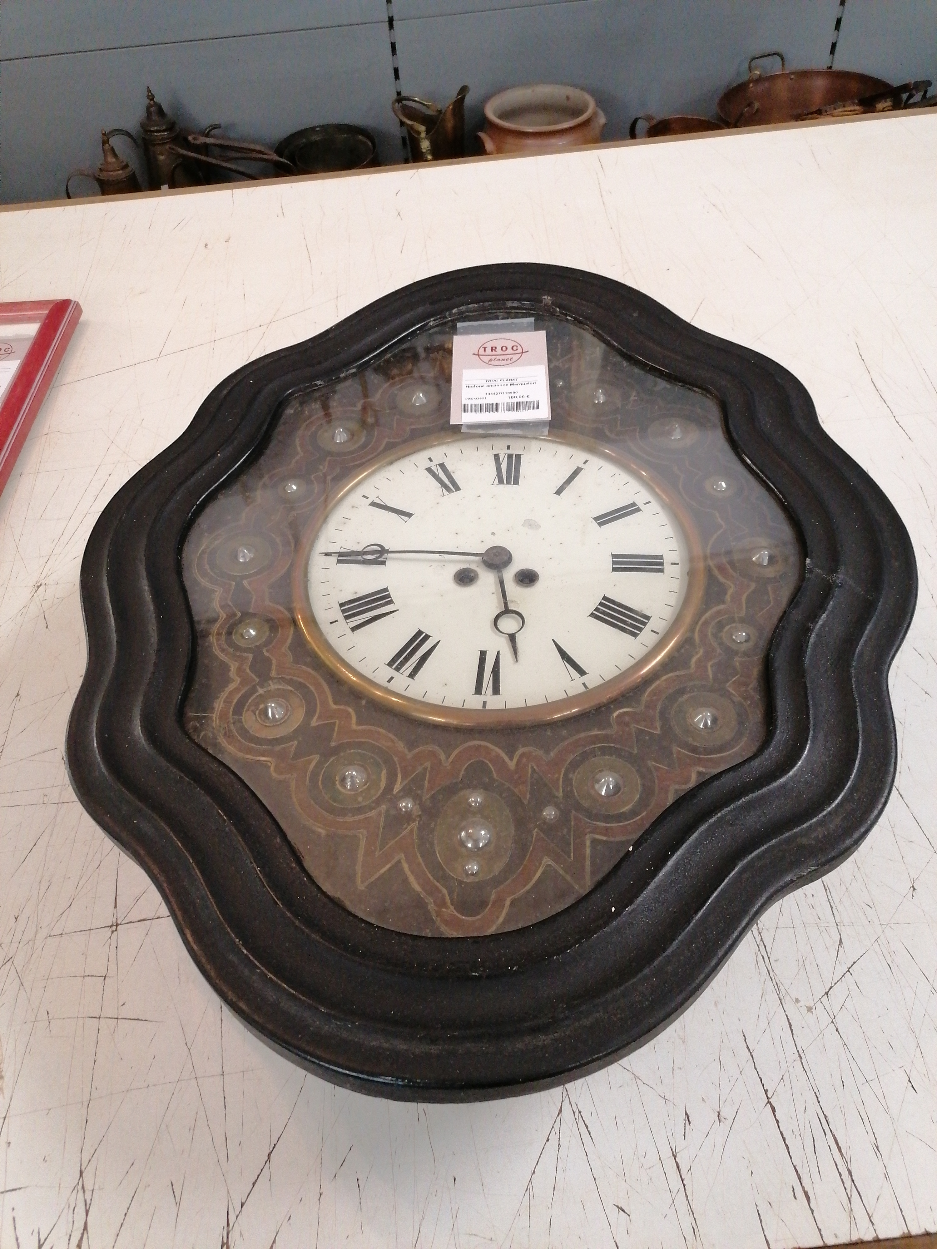 "<p>Horloge ancienne Marqueterie<br />80,00 € T.T.C<br /><a href=""/Article/110800?type=depose"" style=""color:white;"" target=""_blank"">Lien vers l&#39;article</a></p>"